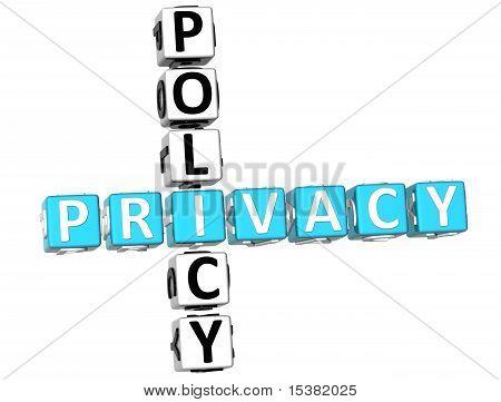 Постер, плакат: Кроссворд политики конфиденциальности, холст на подрамнике