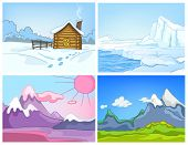 Постер, плакат: Hand drawn vector cartoon set of winter landscapes Colourful cartoons of winter backgrounds Vector