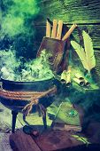 Постер, плакат: Old Witcher Cauldron With Green Smoke And Books For Halloween