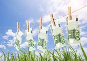 Постер, плакат: 100 Euro Banknotes Hanging On Clothesline On Grassland Background