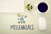 Millennials Concept With Workstation poster
