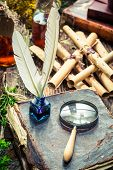 Постер, плакат: Vintage Witcher Labolatory Full Of Scrolls And Recipe