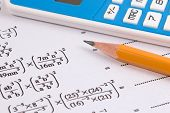 Mathematics, Math Equations Close-up. Math Homework Or Math Exams. Solving Mathematical Problem. Mat poster
