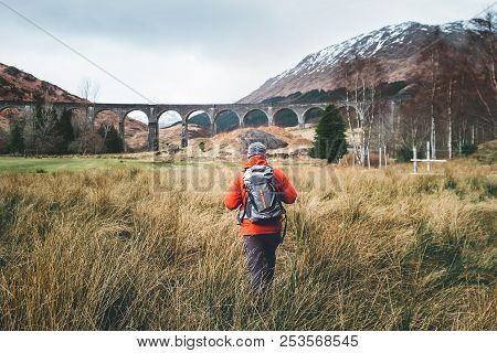Hiking Walk With Backpack Active