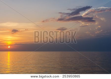 poster of Sunset. Beautiful Sunset Baltic Sea. Painting Sea Sunset. The Sea At Sunset. Amazing Sea Sunset. Sun