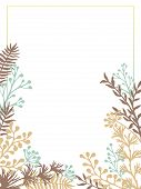 Herbal Twigs And Branches Border Frame Vector Invitation Card. Rustic Vintage Bouquets With Fern Fro poster