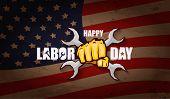 Labor Day Usa Vector Label Or Horizontal Background. Vector Happy Labor Day Poster Or Horizontal Ban poster