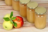Homemade Preserved Apple Puree In Jars. Red And Yellow Apples And Preserved Jars In A Row poster