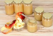 Homemade Preserved Apple Puree In Jar. Red And Yellow Apples And Preserved Jars In A Row poster