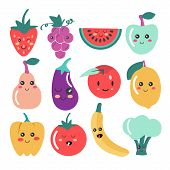 Cute Kawaii Fruit And Vegetable Icons. Vector Set Of Cute Fruit And Veg Illustration. poster