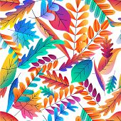 Vector Seamless Pattern With Color Gradients Autumn Leaves. Fantasy Plants Background. Fall Cartoon  poster