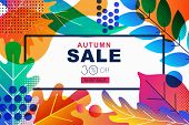 Vector Sale Banners With Color Gradients Autumn Leaves. Fall Illustration Background. Design Templat poster