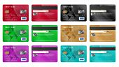 Realistic Credit Cards Icons Set. Universal Credit Cards Icons To Use For Web And Mobile Ui, Set Of  poster