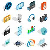 Isometric Media Icons Set. Universal Media Icons To Use For Web And Mobile Ui, Set Of Basic Media El poster