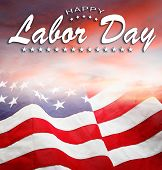 American flag in the sky. Labor day poster