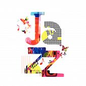 Jazz Music Typographic Colorful Background Vector Illustration. Artistic Music Festival Poster, Live poster
