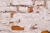 Old Vintage Brick Wall With Shabby White Paint Background. Architecture, Texture. poster