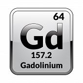 Gadolinium Symbol.chemical Element Of The Periodic Table On A Glossy White Background In A Silver Fr poster