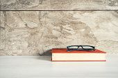 Desk, Book, Table, Glasses, Paper, Education, School, Study, Textbook, Business, Office, Read, Noteb poster