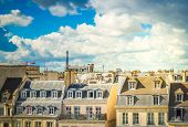 Cityscape Of Paris With Parisian Roofs And Eiffel Tower, Paris France, Retro Toned poster