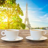 Two Cups Of Coffee With View Of Eiffel Tower Landmark From Trocadero At Sunrise, Paris, France poster