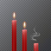 Realistic Red Candle, Burning Red Candle And An Extinct Candle On Dark Background, Vector Illustrati poster