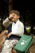 pic of sling bag  - First Aid treatment given to a young boy in the forest showing an arm sling and a head injury - JPG