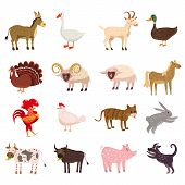 Farm Animals Cute Set In Cartoon Style Isolated On White Background. Vector Illustration. Cute Carto poster