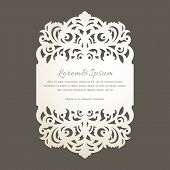 Lace Edge Laser Cut Greeting Card. Wedding Invitation With Lace Border In Vintage Style. Template Fo poster