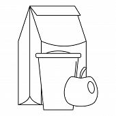 Lunch Apple Pack Icon. Outline Illustration Of Lunch Apple Pack Icon For Web Design Isolated On Whit poster