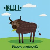 Cute Bull Farm Animal Character, Farm Animals, Vector Illustration On Field Background. Cartoon Styl poster