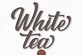 Vector Volumetric Lettering - White Tea. Hand Drawn Embossed Card With Modern Brush Calligraphy. Iso poster