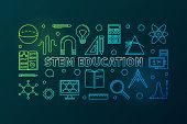 Stem Education Vector Colored Horizontal Banner In Linear Style - Science, Technology, Engineering A poster