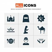 Religion Icons Set With Hijab, Gods House, Muslim Female And Other Male.. Elements. Isolated Vector poster