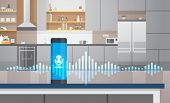 Home Intelligent Voice Activated Assistant Recognition Technology Concept Kitchen Interior Backgroun poster