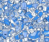 Graffiti Seamless Pattern With Urban Lifestyle Line Icons. Crazy Doodle Abstract Vector Background.  poster