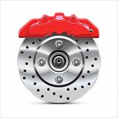 Brake  disc with caliper, vector