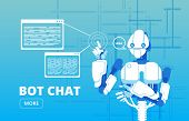 Bot Chat. Robot Supporter Chatbot Virtual Assistance Business Vector Concept. Virtual Chat Bot, Serv poster