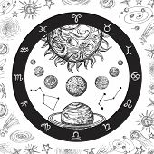 Astrology Concept With Planets. Hand Drawn Universe, Planetary System And Zodiac Constellations. Lin poster