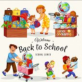 Back To School Poster Happy Kids With Their Parents Buying Bags Books Stationery And Other Supplies  poster