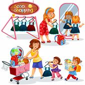 School Shopping Poster Mothers And Children Preparing For New Academic Year Trying On And Buying Bea poster