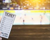 Bookmaker Ticket On The Background Of A Tv On Which Show Volleyball, Sports Betting, Volleyball poster