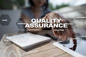 Quality Assurance Concept On The Virtual Screen. Business Concept. poster
