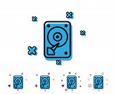 Hdd Icon. Hard Disk Storage Sign. Hard Drive Memory Symbol. Line Icon With Geometric Elements. Brigh poster