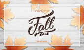 Fall Sale Background Layout Design. Fall Lettering, Fall Leaves And Wooden Background. Autumn Sale B poster