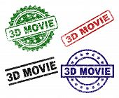 3d Movie Seal Prints With Corroded Surface. Black, Green, Red, Blue Vector Rubber Prints Of 3d Movie poster