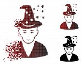 Magic Master Icon With Face In Fractured, Pixelated Halftone And Undamaged Solid Versions. Particles poster