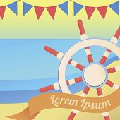 Sea And Nautical Colourful Summer Illustration. Summer Nautical Card In Bright Colors.colorful Illus poster
