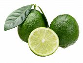 Whole And Half Cut Limes.two Whole Limes With Leaves And A Half Cut Isolated On White. poster