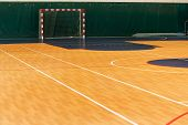 Gym For Playing Futsal, Mini-football. Folded Wooden Parquet On The Field Of Hall For Mini-football. poster